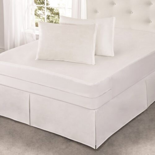 ALL172XXWHIT02 Cool Bamboo Mattress Protector with Bed Bug Blocker, White - Full Size